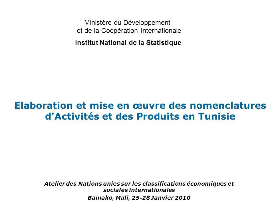Structure des nouvelles nomenclatures d activités et comparaison avec la nomenclature tunisienne précédente Niveau de codage Nomenclatures d activités NAT 1996 (TUNISIE) CITI Rév4 (UN) NACE Rév2 (UE) NAT 2009 (TUNISIE) Section (1 lettre) 1721 Sous-section (2 lettres) 31Niveau abandonné Division (2 chiffres) 6088 Groupe (3 chiffres) 221238272274 Classe (4 chiffres) 501419615662 Sous-classe (5 chiffres) 595 - Niveau inexistant Sous-classes abandonnées Présentation du projet de la nomenclature dActivités Tunisienne Révisée NAT 2009
