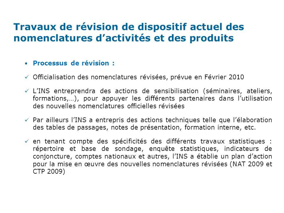 Processus de révision : Au cours de ces processus de révision, deux opérations coordonnées sont venues se greffer visant à assurer une meilleure coordination nationale comme une meilleure intégration régionale : Pour mieux assurer le suivi et fournir des données détaillées du secteur de lartisanat, lONA (Office National de lArtisanat) a construit, en coordination avec lINS, une Nomenclature dActivités Tunisienne de lArtisanat (NATA 2009) et une Classification Tunisienne des Produit de lArtisanat (CTPA 2009).