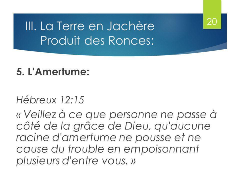 III.La Terre en Jachère Produit des Ronces: 5.