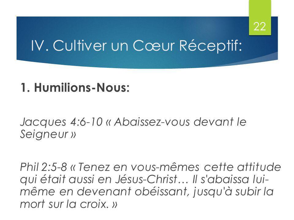 IV.Cultiver un Cœur Réceptif: 1.
