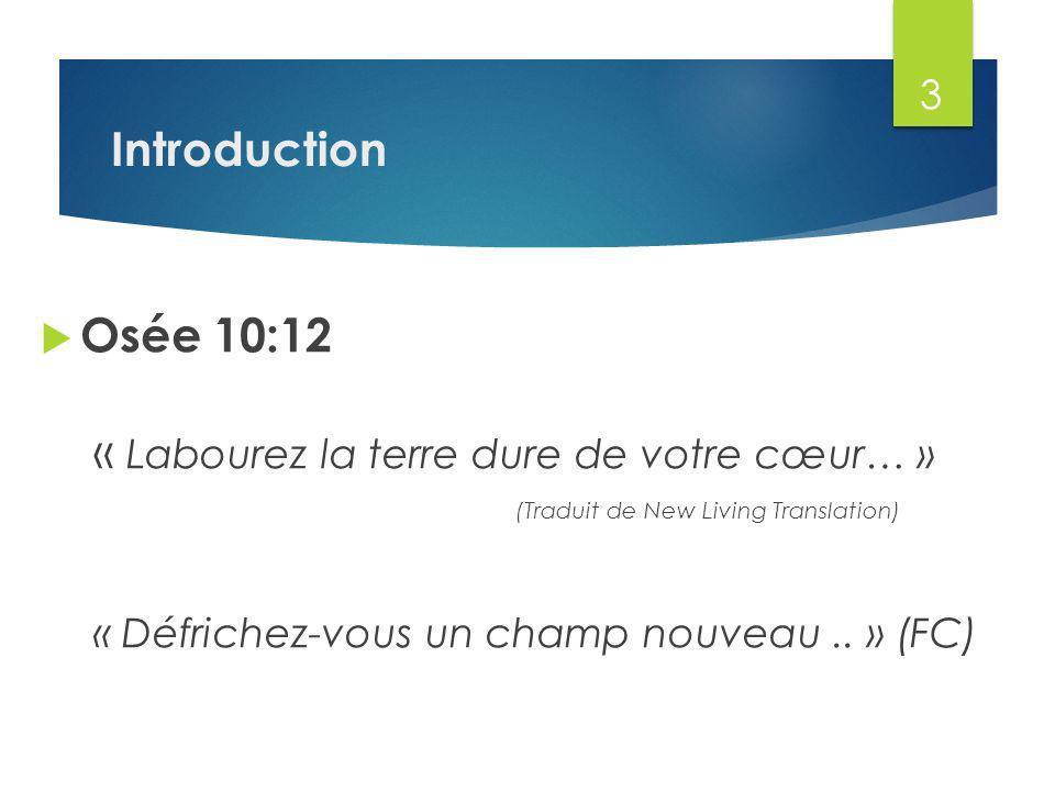 Osée 10:12 « Labourez la terre dure de votre cœur… » (Traduit de New Living Translation) « Défrichez-vous un champ nouveau..