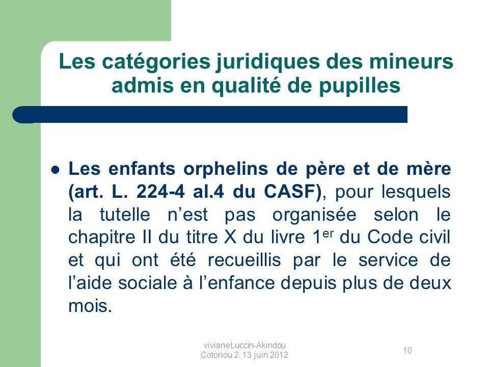 Les catégories juridiques des mineurs admis en qualité de pupilles Les enfants orphelins de père et de mère (art.