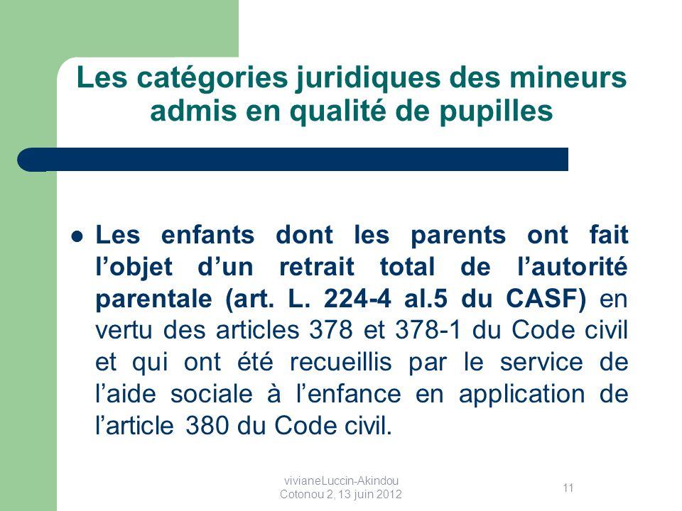 Les catégories juridiques des mineurs admis en qualité de pupilles Les enfants dont les parents ont fait lobjet dun retrait total de lautorité parentale (art.