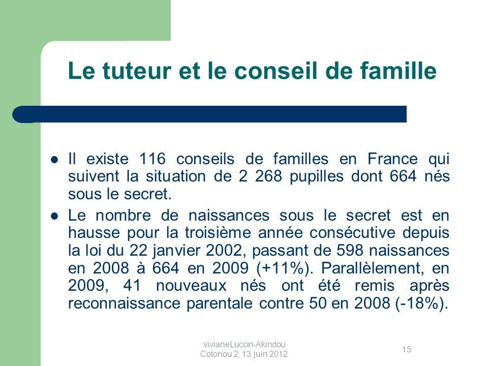 Le tuteur et le conseil de famille Il existe 116 conseils de familles en France qui suivent la situation de 2 268 pupilles dont 664 nés sous le secret.