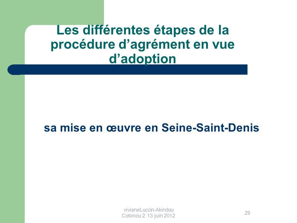 Les différentes étapes de la procédure dagrément en vue dadoption sa mise en œuvre en Seine-Saint-Denis 29 vivianeLuccin-Akindou Cotonou 2, 13 juin 2012