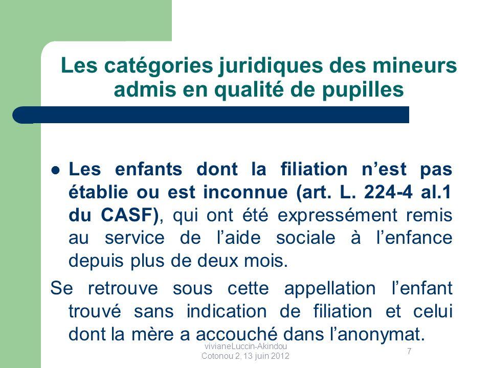 Les catégories juridiques des mineurs admis en qualité de pupilles Les enfants dont la filiation nest pas établie ou est inconnue (art.