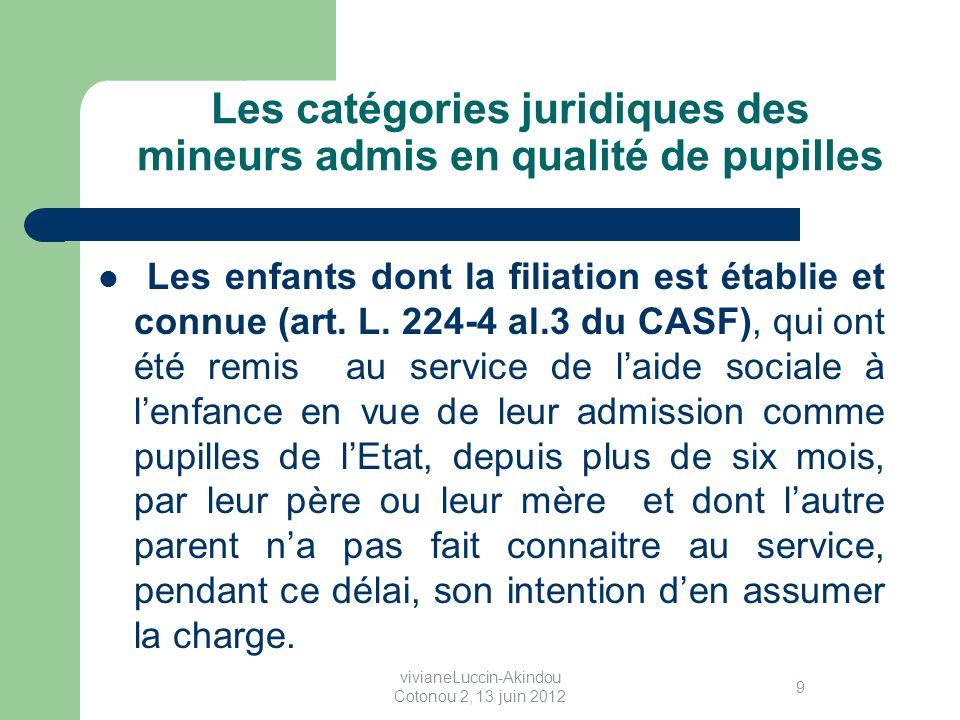 Les catégories juridiques des mineurs admis en qualité de pupilles Les enfants dont la filiation est établie et connue (art.