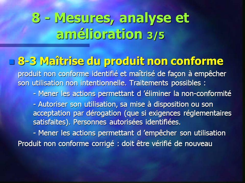 8 - Mesures, analyse et amélioration 3/5 n 8-3 Maîtrise du produit non conforme produit non conforme identifié et maîtrisé de façon à empêcher son utilisation non intentionnelle.