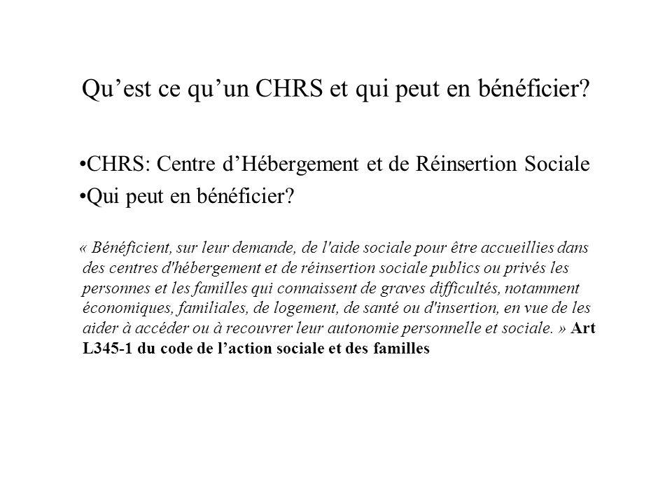 Quest ce quun CHRS et qui peut en bénéficier? CHRS: Centre dHébergement et de Réinsertion Sociale Qui peut en bénéficier? « Bénéficient, sur leur dema