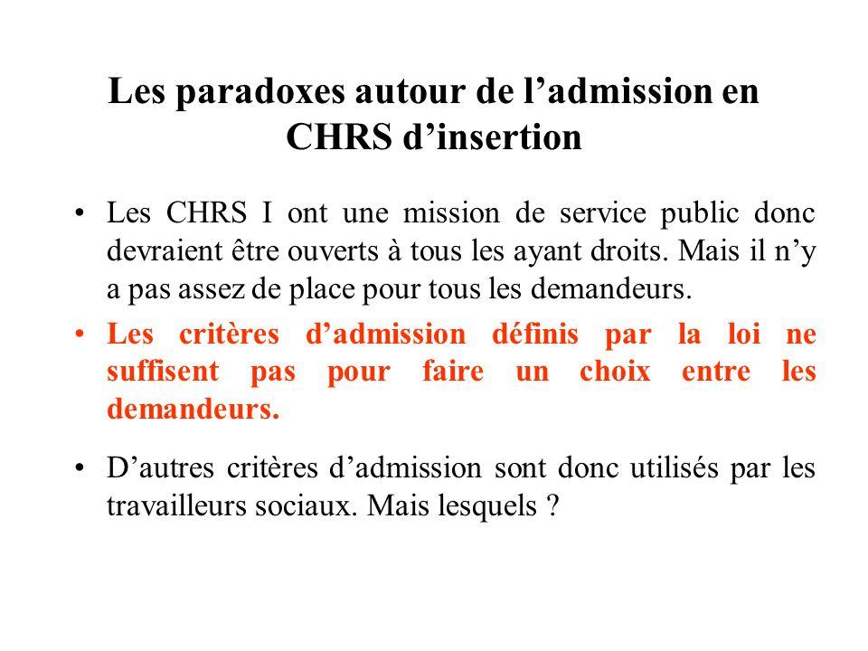 Les paradoxes autour de ladmission en CHRS dinsertion Les CHRS I ont une mission de service public donc devraient être ouverts à tous les ayant droits