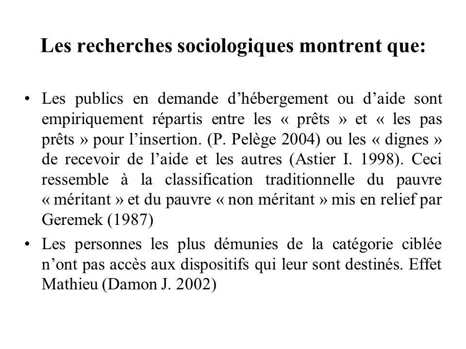 Les recherches sociologiques montrent que: Les publics en demande dhébergement ou daide sont empiriquement répartis entre les « prêts » et « les pas p