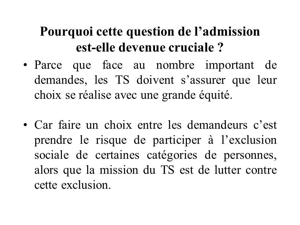 Notre recherche essaie de montrer: Sur quels critères dadmission les TS sappuient pour évaluer laccès dune personne en CHRS dinsertion.