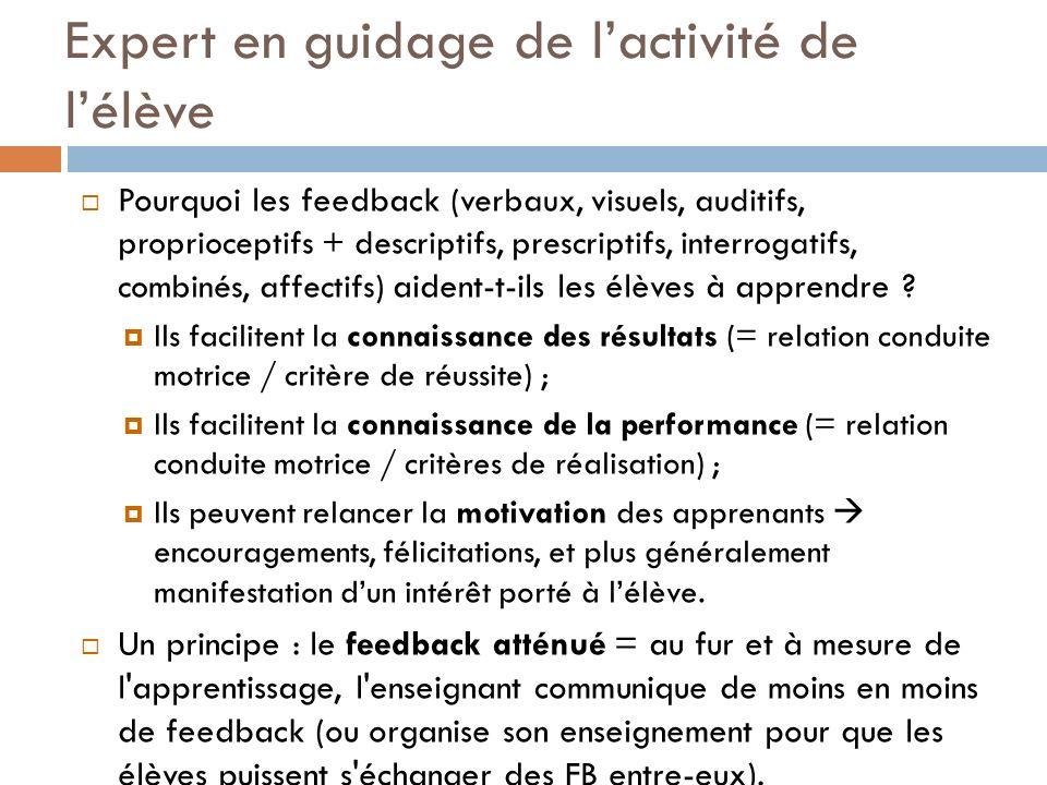 Expert en guidage de lactivité de lélève Pourquoi les feedback (verbaux, visuels, auditifs, proprioceptifs + descriptifs, prescriptifs, interrogatifs,