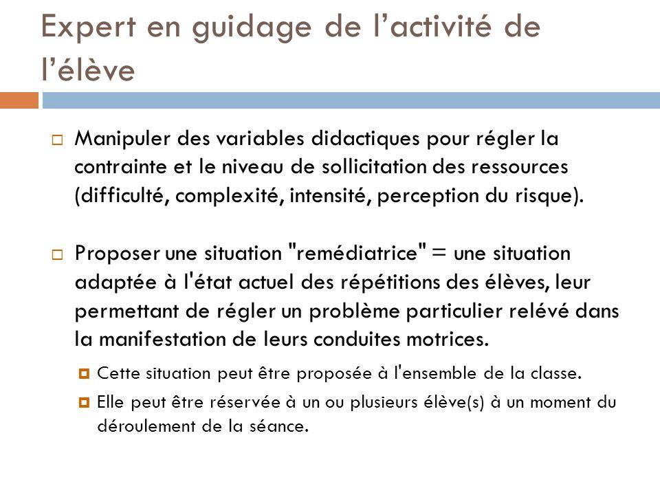 Expert en guidage de lactivité de lélève Manipuler des variables didactiques pour régler la contrainte et le niveau de sollicitation des ressources (d