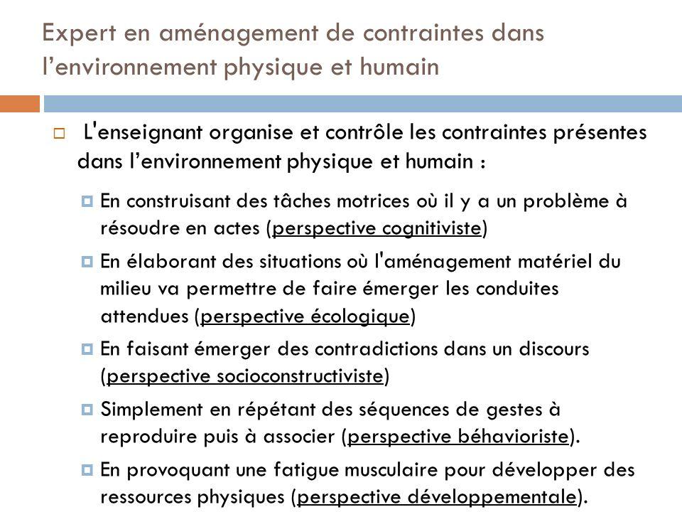 Expert en aménagement de contraintes dans lenvironnement physique et humain L'enseignant organise et contrôle les contraintes présentes dans lenvironn