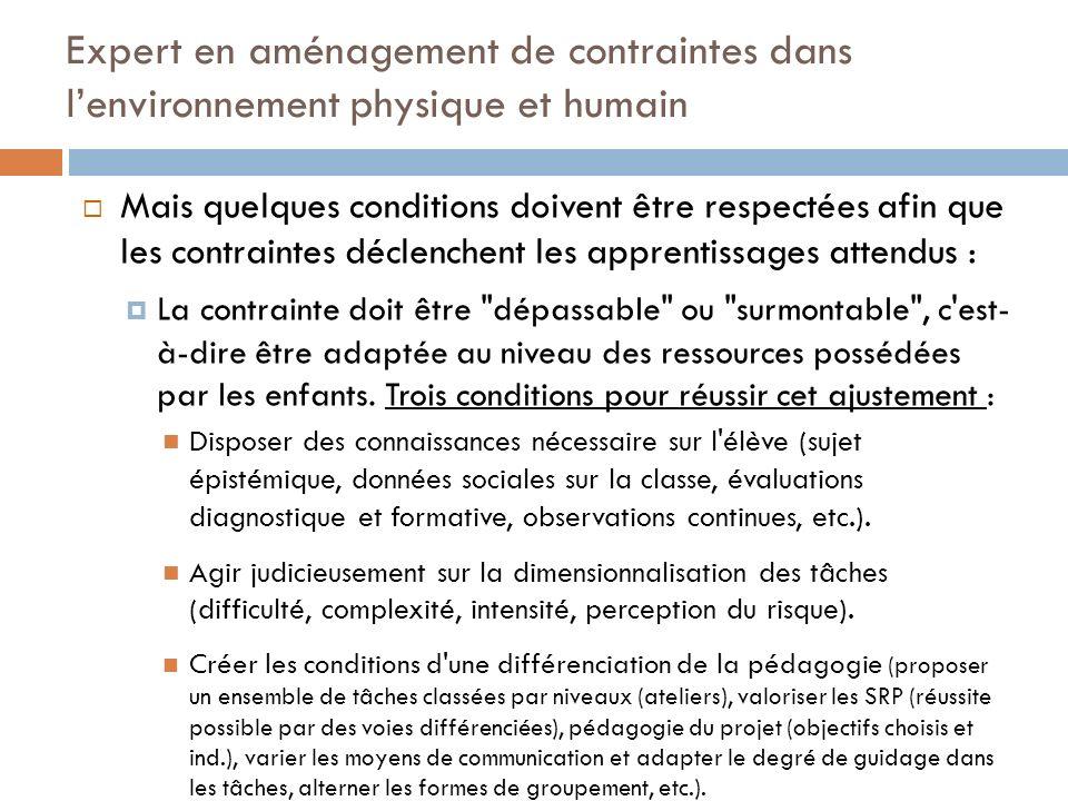 Expert en aménagement de contraintes dans lenvironnement physique et humain Mais quelques conditions doivent être respectées afin que les contraintes