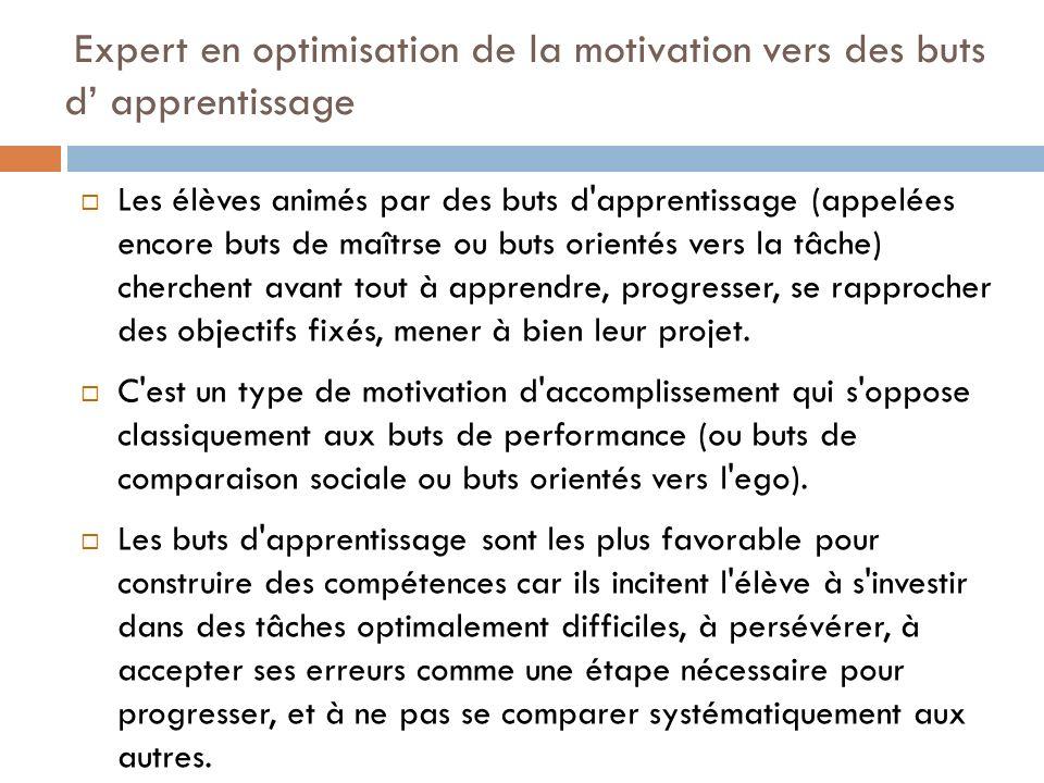Expert en optimisation de la motivation vers des buts d apprentissage Les élèves animés par des buts d'apprentissage (appelées encore buts de maîtrse