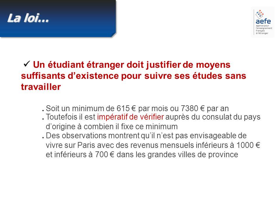 La loi… Un étudiant étranger doit justifier de moyens suffisants dexistence pour suivre ses études sans travailler.