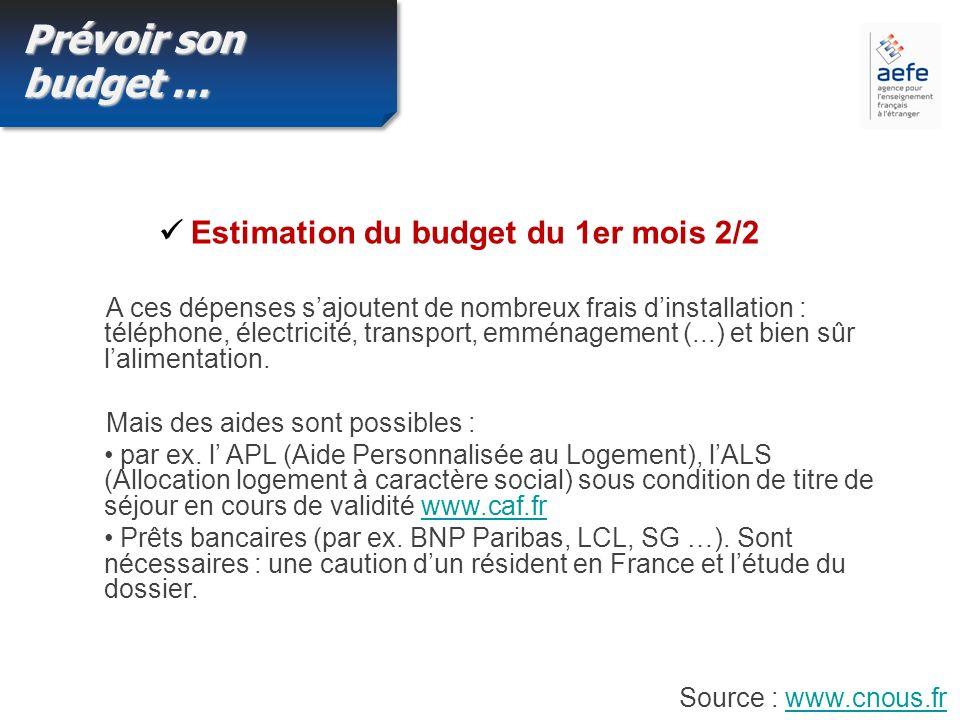 Prévoir son budget … A ces dépenses sajoutent de nombreux frais dinstallation : téléphone, électricité, transport, emménagement (...) et bien sûr lalimentation.