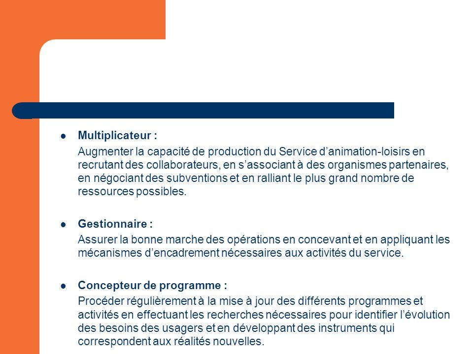 Multiplicateur : Augmenter la capacité de production du Service danimation-loisirs en recrutant des collaborateurs, en sassociant à des organismes partenaires, en négociant des subventions et en ralliant le plus grand nombre de ressources possibles.