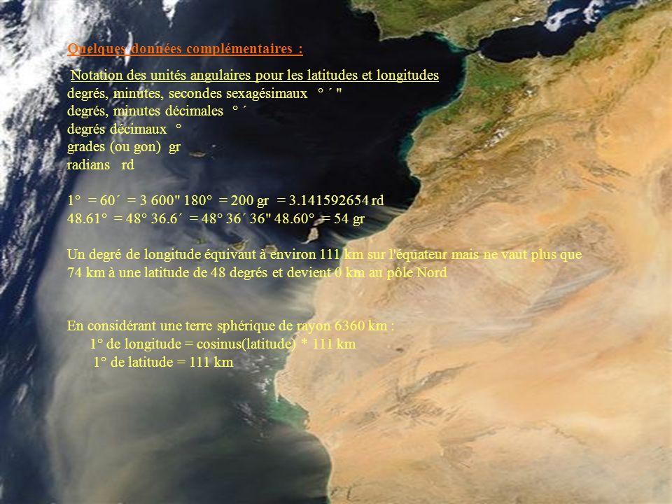 Quelques données complémentaires : Notation des unités angulaires pour les latitudes et longitudes degrés, minutes, secondes sexagésimaux ° ´