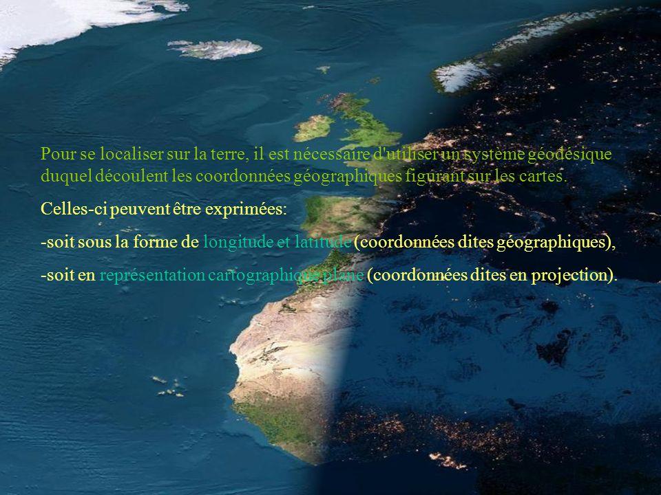 Pour se localiser sur la terre, il est nécessaire d'utiliser un système géodésique duquel découlent les coordonnées géographiques figurant sur les car