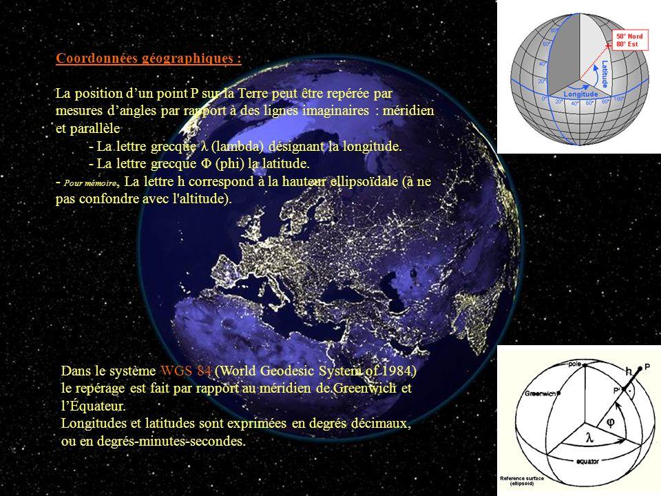 Coordonnées géographiques : La position dun point P sur la Terre peut être repérée par mesures dangles par rapport à des lignes imaginaires : méridien