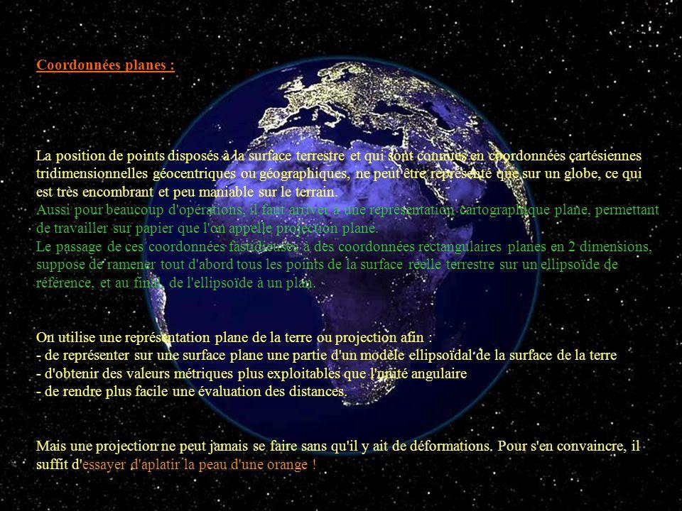 Coordonnées planes : La position de points disposés à la surface terrestre et qui sont connues en coordonnées cartésiennes tridimensionnelles géocentr
