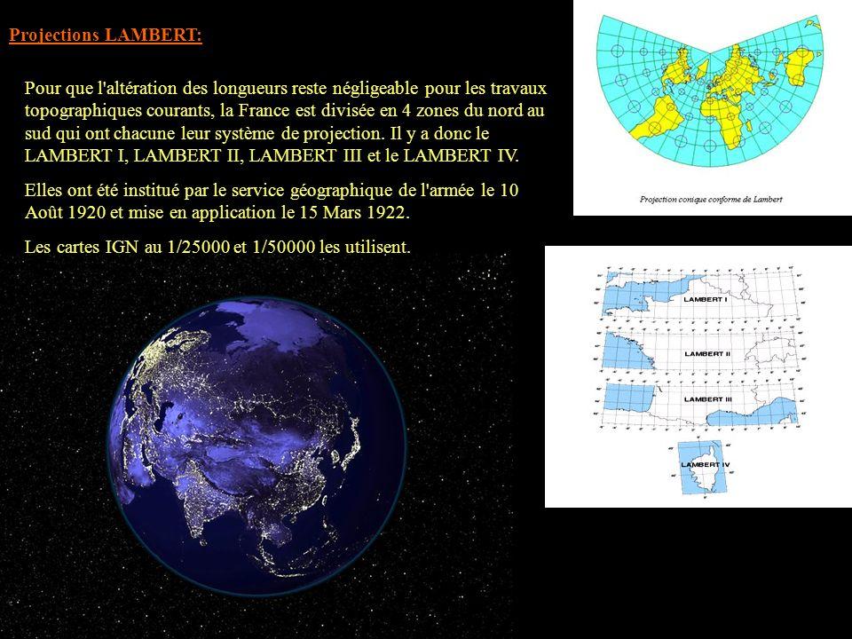 Pour que l'altération des longueurs reste négligeable pour les travaux topographiques courants, la France est divisée en 4 zones du nord au sud qui on