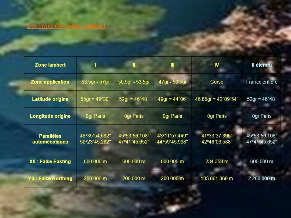 Zone lambertIIIIIIIVII étendu Zone application53.5gr - 57gr50.5gr - 53.5gr47gr - 50.5grCorseFrance entière Latitude origine55gr = 49°30´52gr = 46°48´4