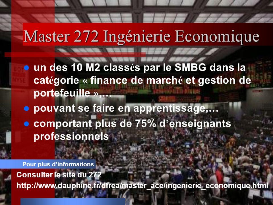 Master 272 Ingénierie Economique un des 10 M2 class é s par le SMBG dans la cat é gorie « finance de march é et gestion de portefeuille », … pouvant se faire en apprentissage, … comportant plus de 75% d enseignants professionnels Pour plus dinformations Consulter le site du 272 http://www.dauphine.fr/dfrea/master_ace/ingenierie_economique.html