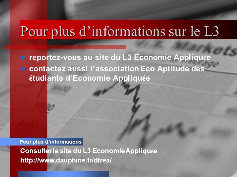 Pour plus dinformations sur le L3 reportez-vous au site du L3 Economie Appliqu é e contactez aussi l association Eco Aptitude des é tudiants d Economie Appliqu é e Pour plus dinformations Consulter le site du L3 Economie Appliqu é e http://www.dauphine.fr/dfrea/