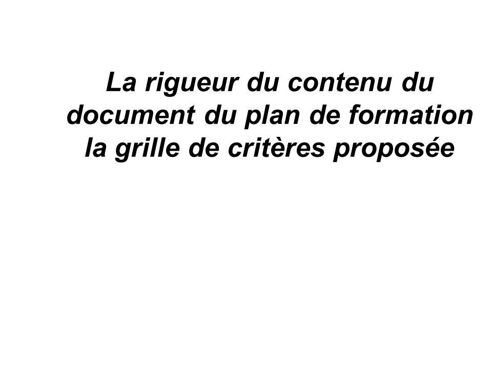 La rigueur du contenu du document du plan de formation la grille de critères proposée