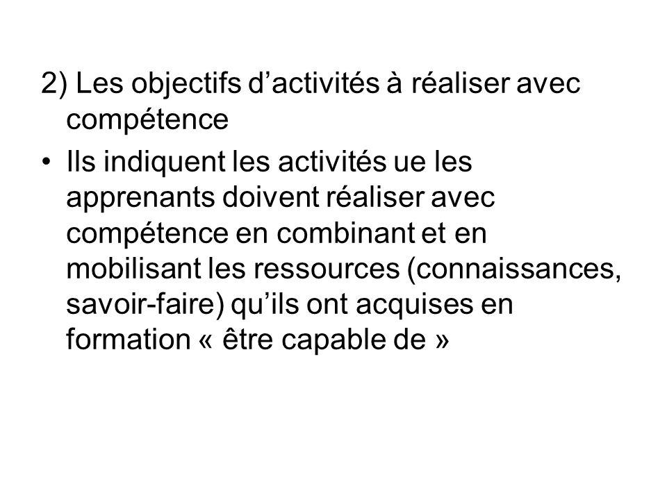 2) Les objectifs dactivités à réaliser avec compétence Ils indiquent les activités ue les apprenants doivent réaliser avec compétence en combinant et