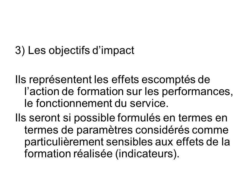 3) Les objectifs dimpact Ils représentent les effets escomptés de laction de formation sur les performances, le fonctionnement du service. Ils seront