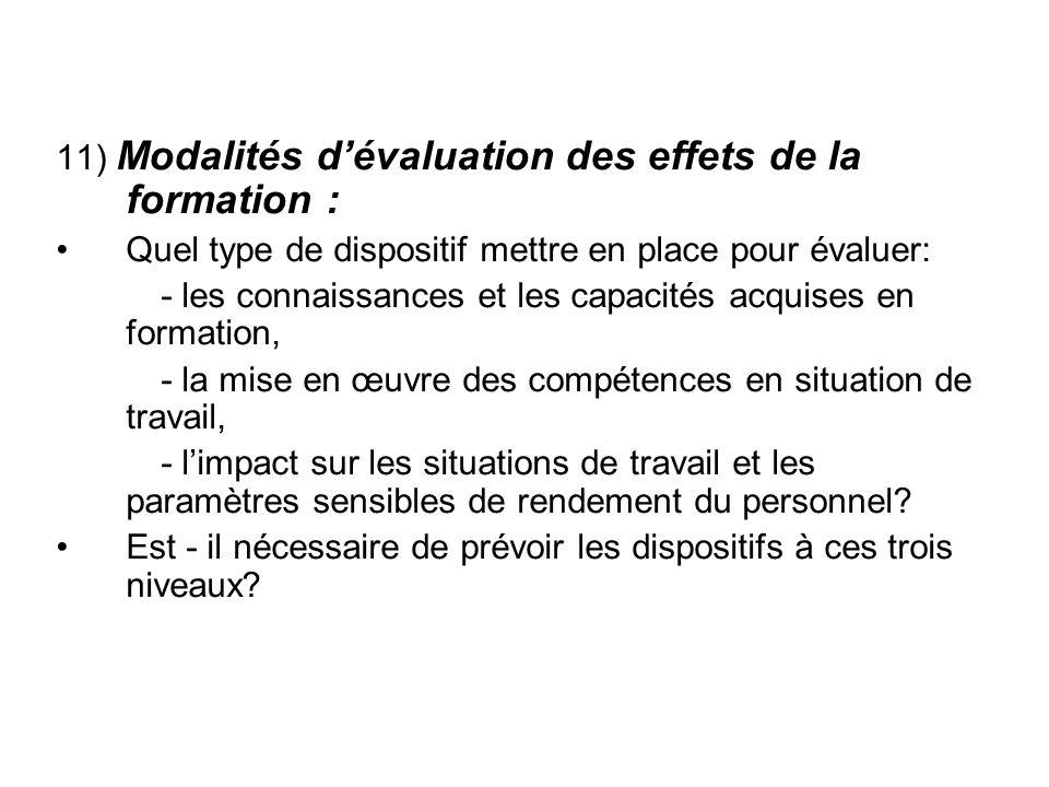 11) Modalités dévaluation des effets de la formation : Quel type de dispositif mettre en place pour évaluer: - les connaissances et les capacités acqu