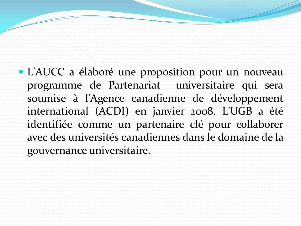 L'AUCC a élaboré une proposition pour un nouveau programme de Partenariat universitaire qui sera soumise à l'Agence canadienne de développement intern