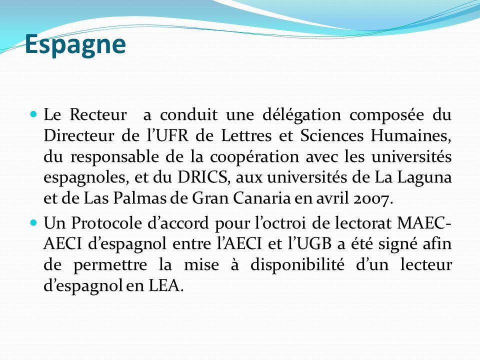 Espagne Le Recteur a conduit une délégation composée du Directeur de lUFR de Lettres et Sciences Humaines, du responsable de la coopération avec les u