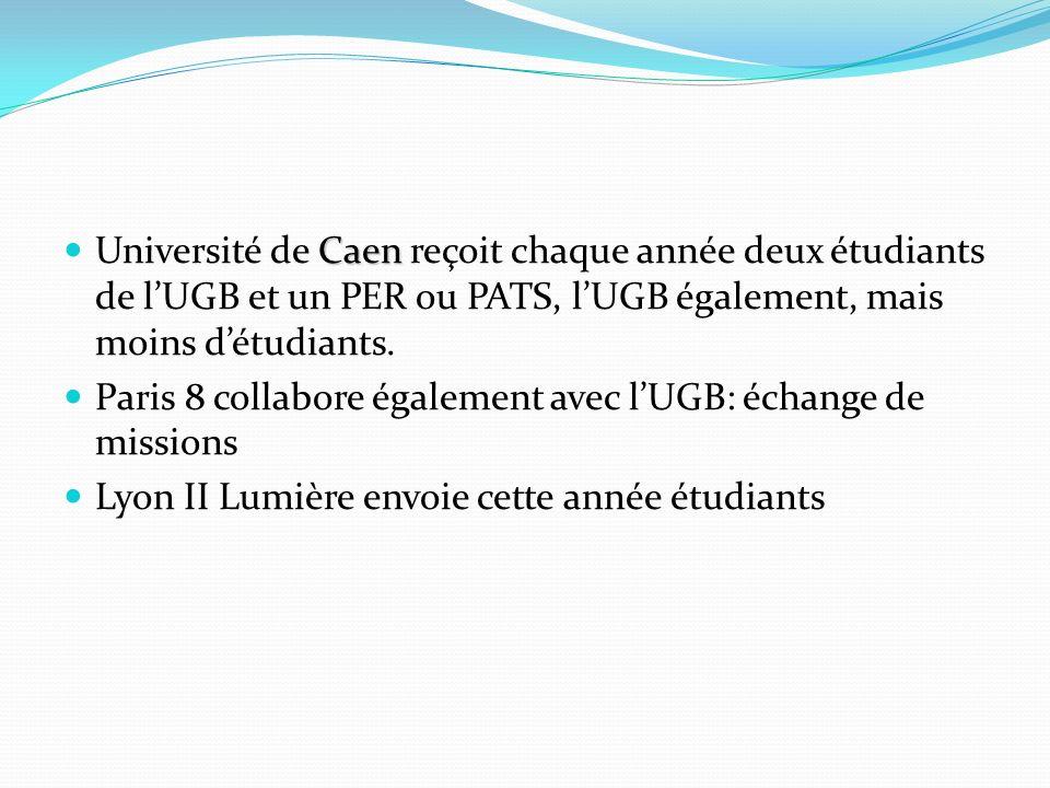 Caen Université de Caen reçoit chaque année deux étudiants de lUGB et un PER ou PATS, lUGB également, mais moins détudiants. Paris 8 collabore égaleme