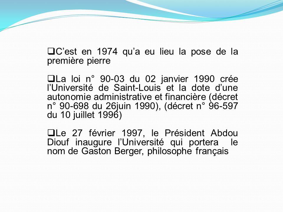 Cest en 1974 qua eu lieu la pose de la première pierre La loi n° 90-03 du 02 janvier 1990 crée lUniversité de Saint-Louis et la dote dune autonomie ad