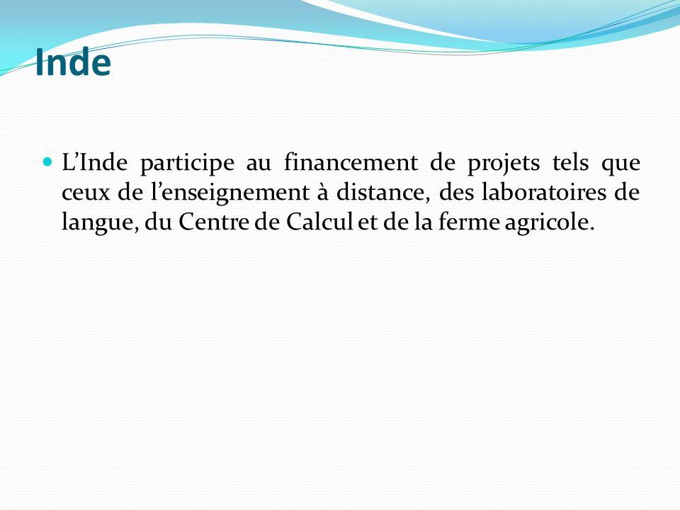 Inde LInde participe au financement de projets tels que ceux de lenseignement à distance, des laboratoires de langue, du Centre de Calcul et de la fer