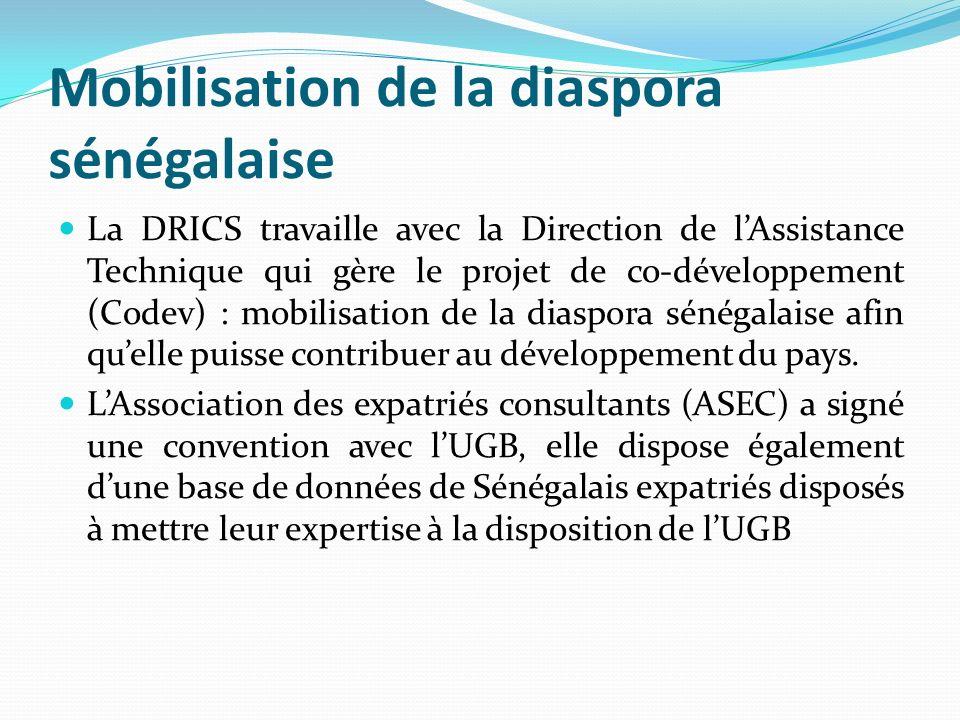 Mobilisation de la diaspora sénégalaise La DRICS travaille avec la Direction de lAssistance Technique qui gère le projet de co-développement (Codev) :