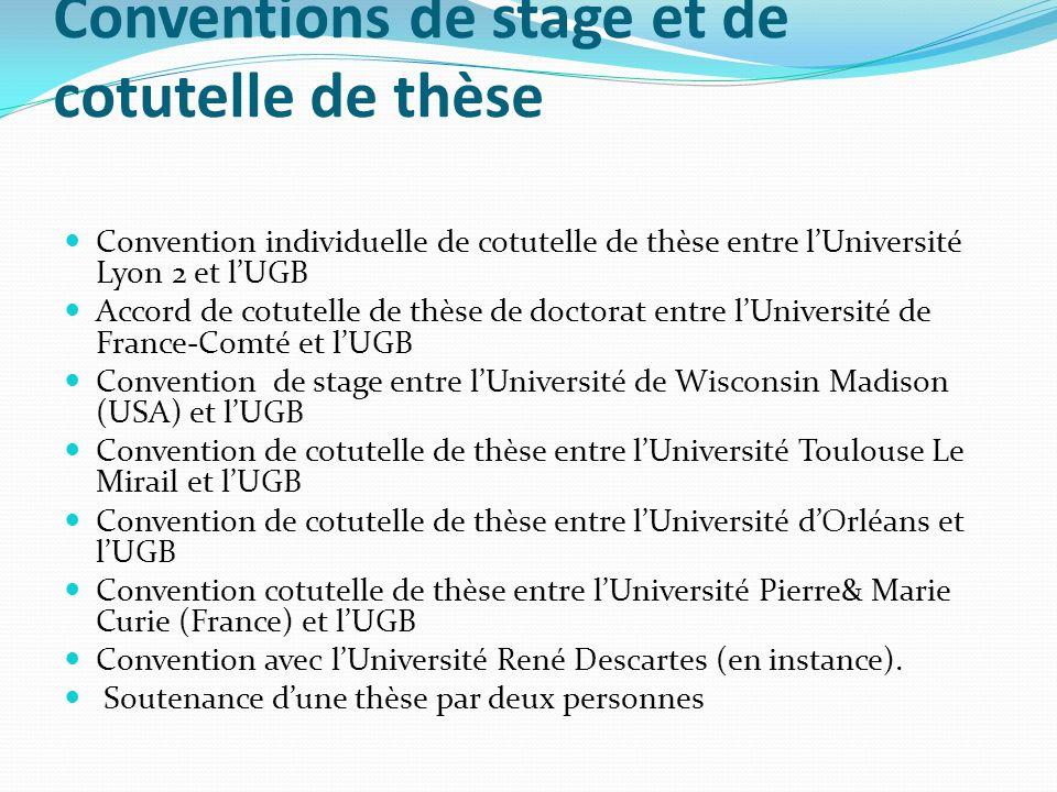 Conventions de stage et de cotutelle de thèse Convention individuelle de cotutelle de thèse entre lUniversité Lyon 2 et lUGB Accord de cotutelle de th