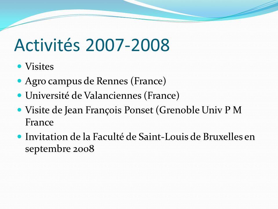 Activités 2007-2008 Visites Agro campus de Rennes (France) Université de Valanciennes (France) Visite de Jean François Ponset (Grenoble Univ P M Franc