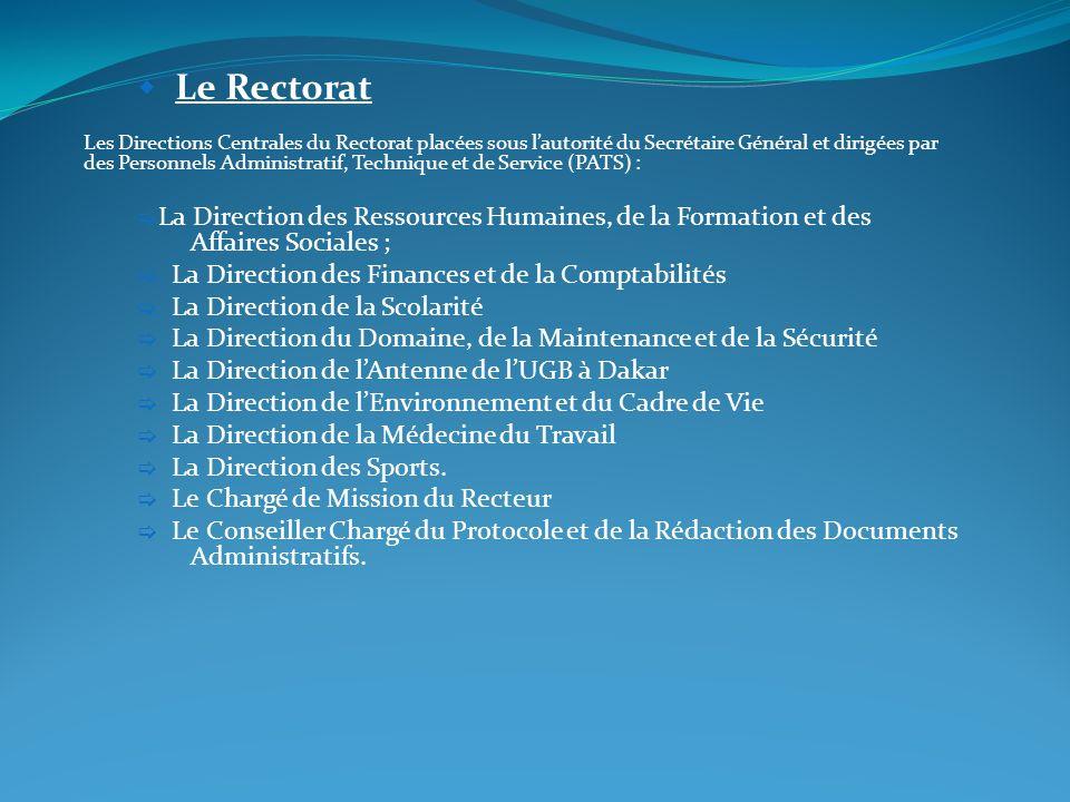 Le Rectorat Les Directions Centrales du Rectorat placées sous lautorité du Secrétaire Général et dirigées par des Personnels Administratif, Technique