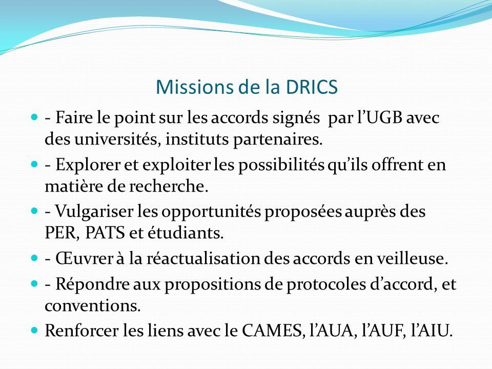 Missions de la DRICS - Faire le point sur les accords signés par lUGB avec des universités, instituts partenaires. - Explorer et exploiter les possibi