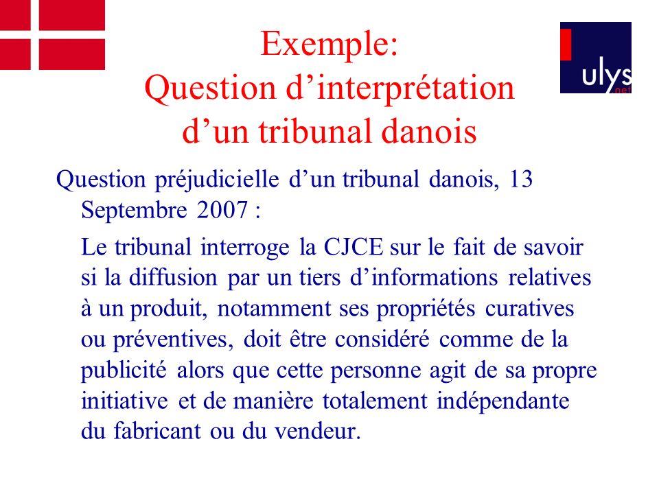 Exemple: Question dinterprétation dun tribunal danois Question préjudicielle dun tribunal danois, 13 Septembre 2007 : Le tribunal interroge la CJCE su