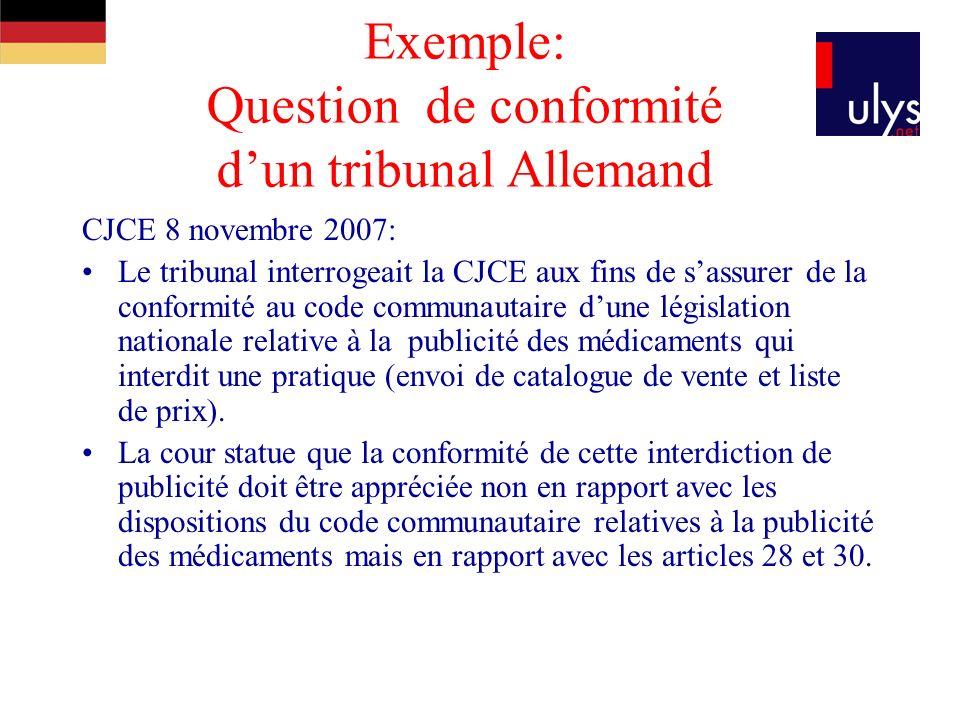 Exemple: Question de conformité dun tribunal Allemand CJCE 8 novembre 2007: Le tribunal interrogeait la CJCE aux fins de sassurer de la conformité au