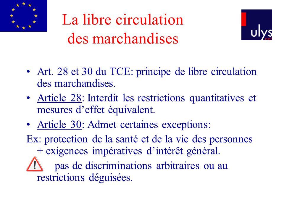 La libre circulation des marchandises Art. 28 et 30 du TCE: principe de libre circulation des marchandises. Article 28: Interdit les restrictions quan