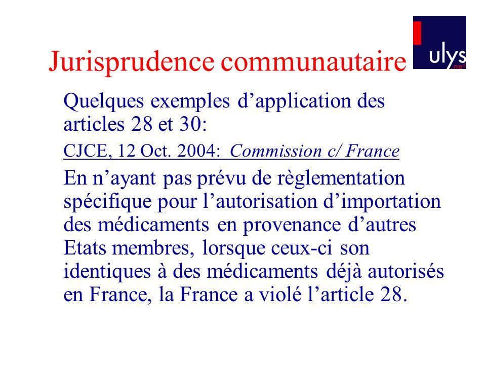 Jurisprudence communautaire Quelques exemples dapplication des articles 28 et 30: CJCE, 12 Oct. 2004: Commission c/ France En nayant pas prévu de règl